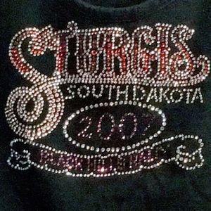 2007 STURGIS Black Pink Crystal Split Sleeve Top